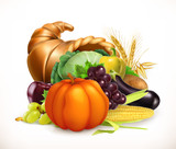 Horn of plenty. Harvest fruits and vegetables. Cornucopia. 3d vector icon