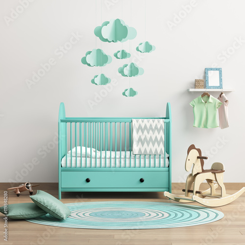 Modern baby's room with mint bed