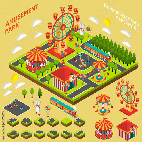 Zdjęcie XXL Amusement Park Isometric Map Creator Composition