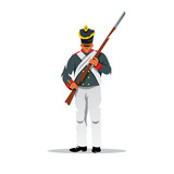 Vector Russian ancient soldier at Borodino Cartoon illustration.
