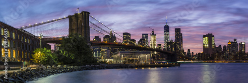 Fulton Ferry Park Twilight Panorama Poster