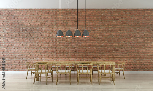 Dining room and brick wall
