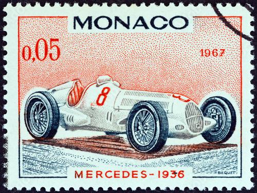 Poster Mercedes Grand Prix racing car of 1936, winner of Monaco Grand Prix (Monaco 1967