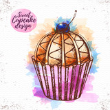 Watercolor sweet cupcake vector illustaration