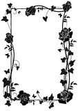 frame with roses and butterflies