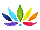 Fototapety 7 color of chakra sign symbol, colorful lotus flower, watercolor