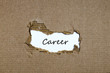 The word career appearing behind torn paper