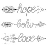 Bohemian Arrows, Signs Boho, Love, Hope with feathers. Decorativ
