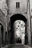 Old Italian Buildings Along Alley, Black and White, San Gimignano, Tuscany, Italy