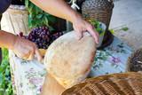 cutting fresh bread