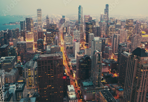Fotobehang Chicago Chicago financial distict