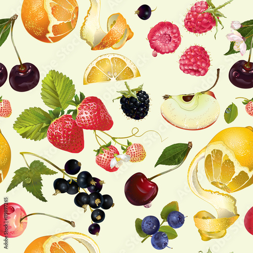 Obraz na Szkle Fruit and berry pattern
