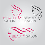 Beautiful woman vector logo template for hair salon, beauty , cosmetic procedures