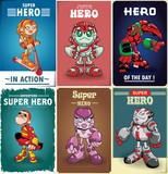Vintage Super hero poster design with vector super hero character.