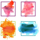 Set of vector watercolor textures; abstract frames