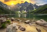 Eye of the Sea lake in Tatra mountains at sunset, Poland