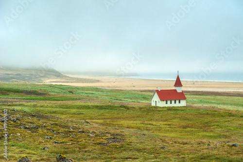Poster Breidavik church, Westfjords, Iceland