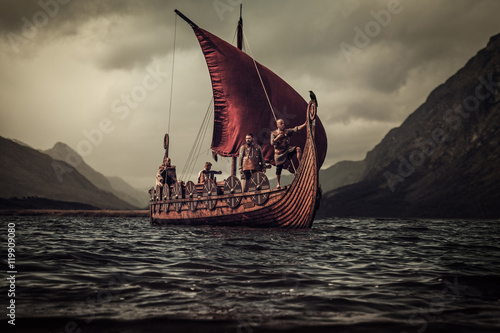 Vikings are floating on the sea on Drakkar with mountains on the Poster