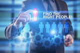 FInd the right people. Businessman select people icon on virtual screen. HR management concept