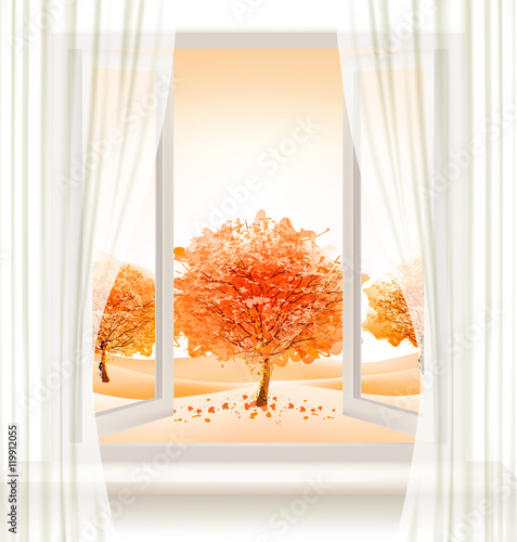 Fototapeta Autumn background with an open window and colorful trees. Vector