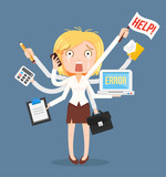Busy businesswomen character. Multitasking hard work. Vector flat cartoon illustration