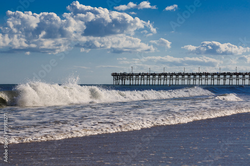 Strong waves in topsail beach, NC. © muratani
