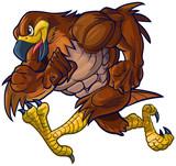 Vector Cartoon Hawk Eagle or Falcon Mascot Running