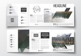 Vector set of tri-fold brochures, square design templates. Colorful polygonal backdrop, blurred natural background, modern stylish triangle texture.