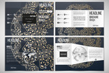 Set of tri-fold brochure design template on both sides with world globe element. Golden microchip pattern, connecting dots and lines, connection structure. Digital scientific vector background
