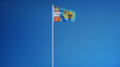 Saint Pierre and Miquelon flag waving against clean blue sky, long shot, isolated with clipping path mask alpha channel transparency digital composition