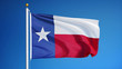 Texas flag waving against clean blue sky, close up, isolated with clipping path mask alpha channel transparency