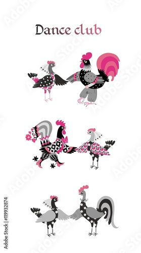 Fototapeta Seamless vector pattern with cute cartoon roosters. Year of the rooster. 2017. Beautiful background.