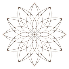 Vector Illustration - Abstract Floral Print. Abstract Flower, Mandala or Star for Coloring. Round Ornament Pattern. Coloring Page.