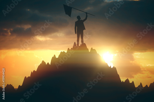 Businessperson with flag