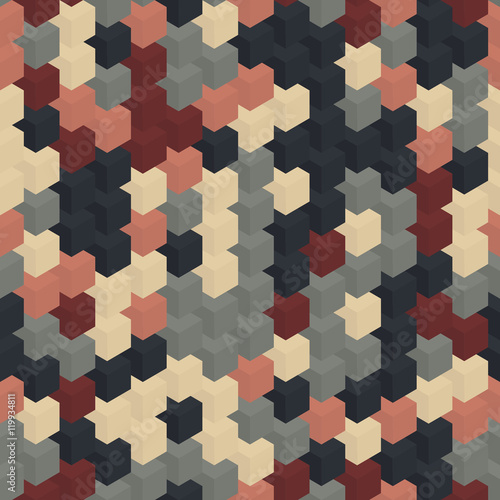 Isometric brown blue gray cubes pattern. Right side. - 119934811