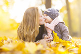 mother and child in autumn