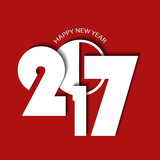 New Year 2017 concept on red background. Vector illustration