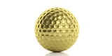 Golden golf ball. 3d illustration