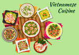 Vietnamese cuisine oriental dishes icon