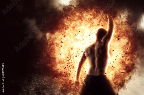 Poster Man with katana over explosion background