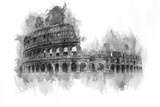 Monochrome watercolor painting of the Colosseum