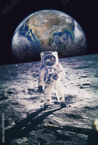 Fotobehang Nasa Astronaut walking on moon with earth in background. Elements of