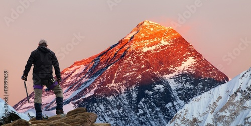 Evening colored view of Mount Everest with tourist