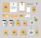 organic brading identity mock up  with logo design.stationary for restaurant and food shop
