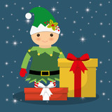 Elf cartoon and gifts icon. Merry Christmas decoration and season theme. Colorful design. Vector illustration