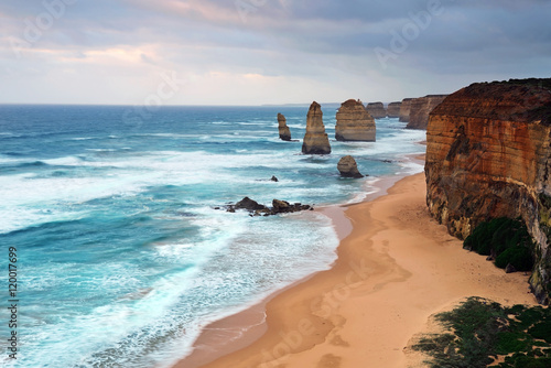 Cloudy day in Twelve Apostles Sea rock in Port Campbell National park, one of the most famous iconic natural landmark along Great Ocean Road i
