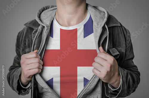 Poster Man showing Great Britain flag on t-shirt.