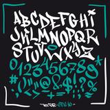 Hand written graffiti font alphabet. Vector set on black - 120022077