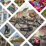 Collage of Copenhagen ( Denmark ) images - travel background (my