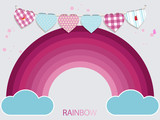 Kids pink rainbow and buntig background